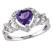 .1 ct. t.w. Diamond and Amethyst Open Heart Crossover Ring in Sterling Silver, Size 7