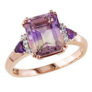 3.4 ct. t.g.w. Emerald Cut Ametrine, Amethyst and Diamond Accent Ring in Rose Plated Sterling Silver, Size 6