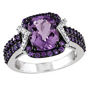 .1 ct. t.w. Diamond and 3.33 ct. t.g.w. Emerald Cut Amethyst Halo Ring in Sterling Silver with Black Rhodium, Size 6