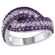 Amethyst and Rose de France Triple Row Twist Ring in Sterling Silver with Black Rhodium, Size 7