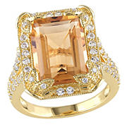 7.6 ct. t.g.w. Emerald Cut Citrine, White Topaz and Diamond Halo Leaf Split Shank Ring Yellow Sterling Silver, Size 9