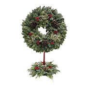 "24"" Holiday Wreath and 12"" Centerpiece Combo"