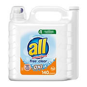all Liquid Laundry Detergent with OXI Stain Removers and Whiteners, 250 oz.