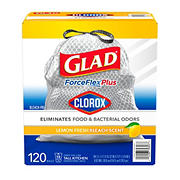 Glad ForceFlex Plus w/ Clorox Tall Kitchen Trash Bags, 120 ct.