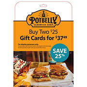 $25 Potbelly Sandwiches, 2 pk.