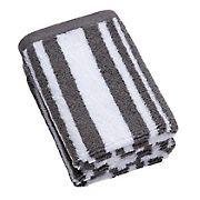 Berkley Jensen Cotton Wash Cloths, 2 pk. - Medium Gray Stripe