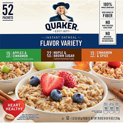 Quaker Instant Oatmeal Variety Pack, 52 pk./1.46 oz.