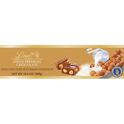 Lindt Swiss Gold Milk Chocolate and Hazelnut Bar, 10.58 oz.