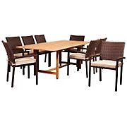 Amazonia Cedric 9-Pc. Teak & Wicker Patio Dining Set