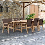 Amazonia Claude 9-Pc. Teak & Aluminum Patio Dining Set