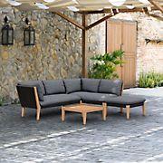 Amazonia Lorian Teak Finish & Rope Patio Seating Set with Cushions