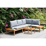 Amazonia Michel Wood Patio Seating Set with Cushions