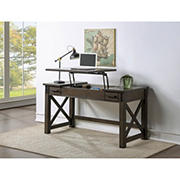 H2O Wood Desk with Adjustable Lift Top, Drawers and USB Charging Port