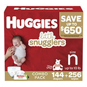 Huggies Little Snugglers Baby Diapers, Size Newborn, 204 ct.