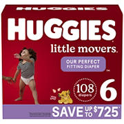 Huggies Little Movers Baby Diapers, Size 6, 108 ct