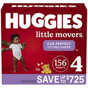 Huggies Little Movers Baby Diapers, Size 4, 156 ct