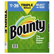 Bounty Select-A-Size Triple Rolls Paper Towels, White, 12 ct.