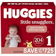 Huggies Little Snugglers Baby Diapers, Size 1, 204 ct.