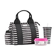 Fit and Fresh Sanibel Bag -Thick Brush Stripe Black