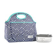 Fit and Fresh Rosewood Bag - Navy Uneven Lattice