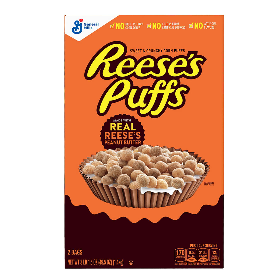 General Mills Reese's Peanut Butter Puffs, 49 5 oz