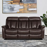 Abbyson Living Riley Top Grain Leather Reclining Sofa with White Glove Delivery - Brown