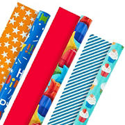 Hallmark All Occasion Reversible Wrapping Paper - Kids Birthday (3 Rolls - 75 sq. ft. ttl) Balloons, Stars, Cupcakes, Stripes