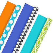 Hallmark All Occasion Reversible Wrapping Paper - Solid, Dots (3 Rolls; 75 sq. ft. ttl) Yellow, Orange, Blue, Black and White