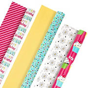 Hallmark All Occasion Reversible Wrapping Paper Bundle - Happy Birthday (3 Rolls - 75 sq. ft. ttl) Cupcakes, Stripes, Flowers