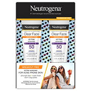Neutrogena Clear Face Liquid Lotion Sunscreen SPF 50, 2 ct.