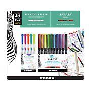 Zebra Mildliner Double-Ended Creative Marker and Sarasa Fineliner Pen, Fine Point, 15 ct.