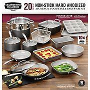 GraniteStone PRO Hard Anodized Exterior, Smooth Ceramic 20-Pc. Cookware & Bakeware Set Kitchen in a Box - Gray