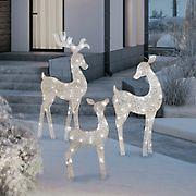 Berkley Jensen Holiday Flat-Tastics LuxeSparkle Deer Family Yard Decor - White/White Diamond
