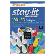 Sylvania Staylit 100-ct. 6-Function LED Twinkling/Color Changing C6 Light Set