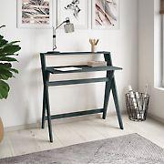 Handy Living Cahill Solid Wood Scissor Leg Study Desk - Gray Finish