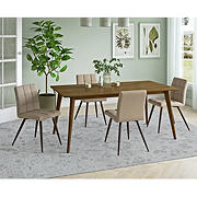 Handy Living Colman 5-Pc. Dining Set with Walnut Finished Table and Chairs - Barley Tan Plush Low-Pile Velour