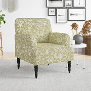 Handy Living Katelyn Upholstered Armchair with Black Legs - Barley Beige and White Lily Print