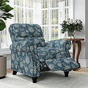 ProLounger Push Back Recliner - Blue & Cream Floral with Nailhead Trim
