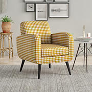 Handy Living Leach Mid Century Armchair - Mustard Yellow Houndstooth Linen