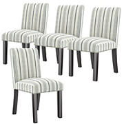 Handy Living Boreham Upholstered Dining Chairs - Linen Farmhouse Woven Denim Blue Stripe, set of 4