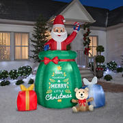 Gemmy Airblown Giant Animated Inflatable Santa in a Gift Sack