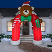 Gemmy Animated Airblown Inflatable Teddy Bear Archway with Wiggling Bow Tie