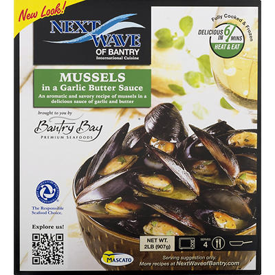 Bantry Bay Premium Seafoods Mussels In Garlic Butter Sauce, 2 lbs.