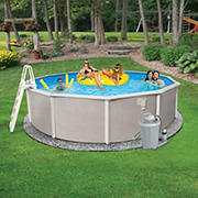 Belize 18' Round Metal Wall Swimming Pool Package