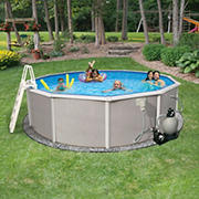 Belize 24' Round Metal Wall Swimming Pool Package