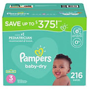 Pampers Baby Dry Diapers, Size 3, 216 ct.