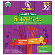 Annie's Organic Strawberry and Fruit Punch Peel-A-Parts Fruit Strings Variety Pack, 30 ct.