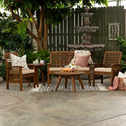 W. Trends Windham 5-Pc. Acacia Wood Outdoor Chat Set