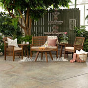 W. Trends Windham 6-Pc. Acacia Wood Outdoor Chat Set