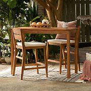 W. Trends 3-Pc. Acacia Wood Outdoor Bistro Set - Brown